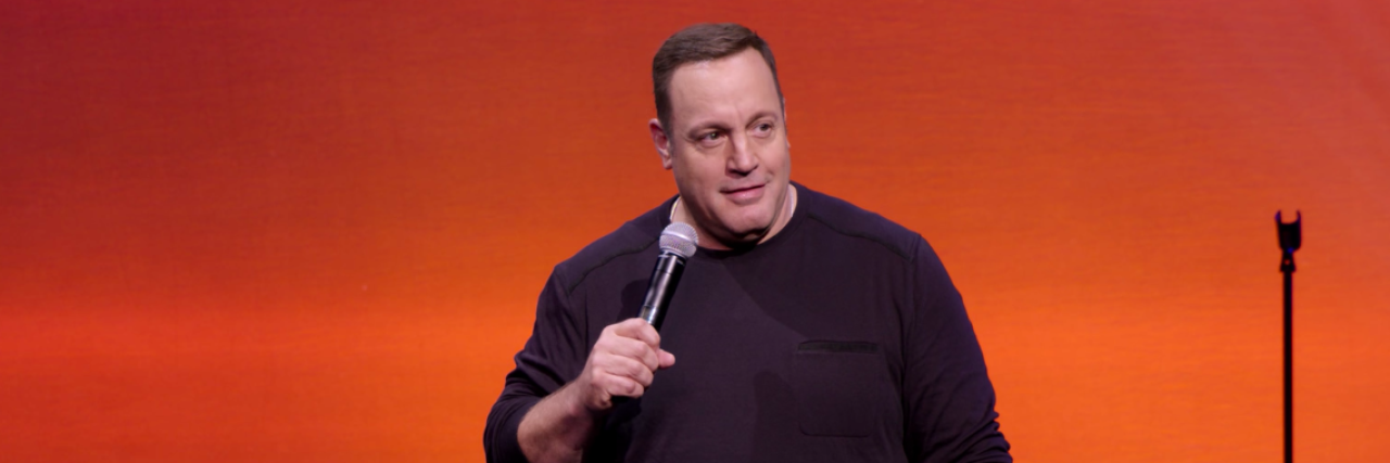 "kevin james in his new netflix special, ""kevin james: never don't give up"""
