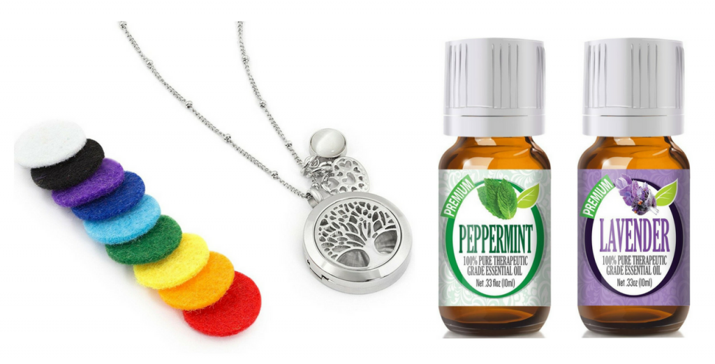 necklace diffuser and peppermint and lavender essential oils