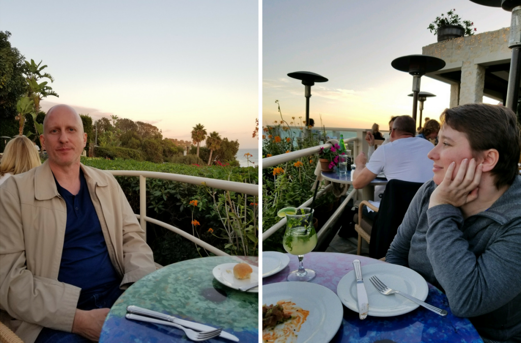 photos of a man and woman sitting at a table overlooking the ocean
