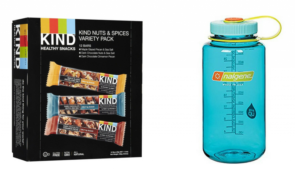 kind bars and nalgene water bottle