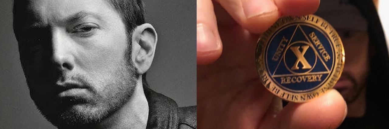 Split screen photo. On the left is a black and white photo of Eminem. On the right, Eminem holding up a sobriety coin.