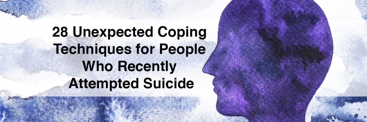 Watercolor of a person. 28 Unexpected Coping Techniques for people who recently attempted suicide
