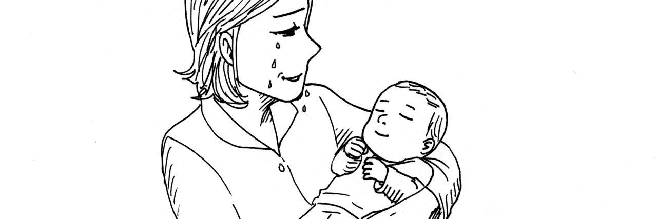 drawing of woman holding baby wondering why she is crying