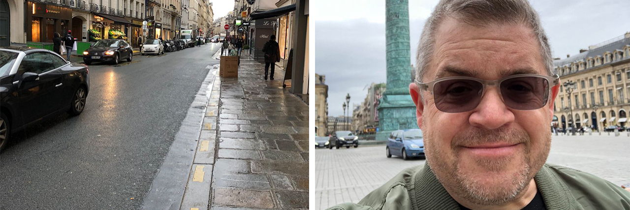 Two images side by side. On the left is a photo of a street after rainfall. The right is a selfie of Patton Oswalt wearing sunglasses in front of a monument.