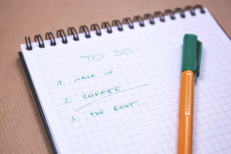 a to-do list on a notebook