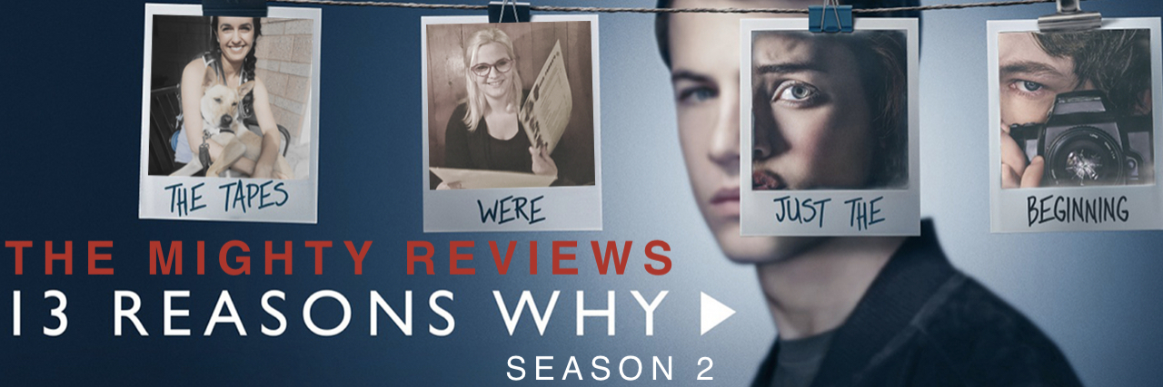 """Promotional image for """"13 Reasons Why"""" features Clay's face and four polaroids. One polaroid is Hannah's face, the other is Tyler's face holding a camera and the first two are two Mighty staff members who have been photoshopped in."""