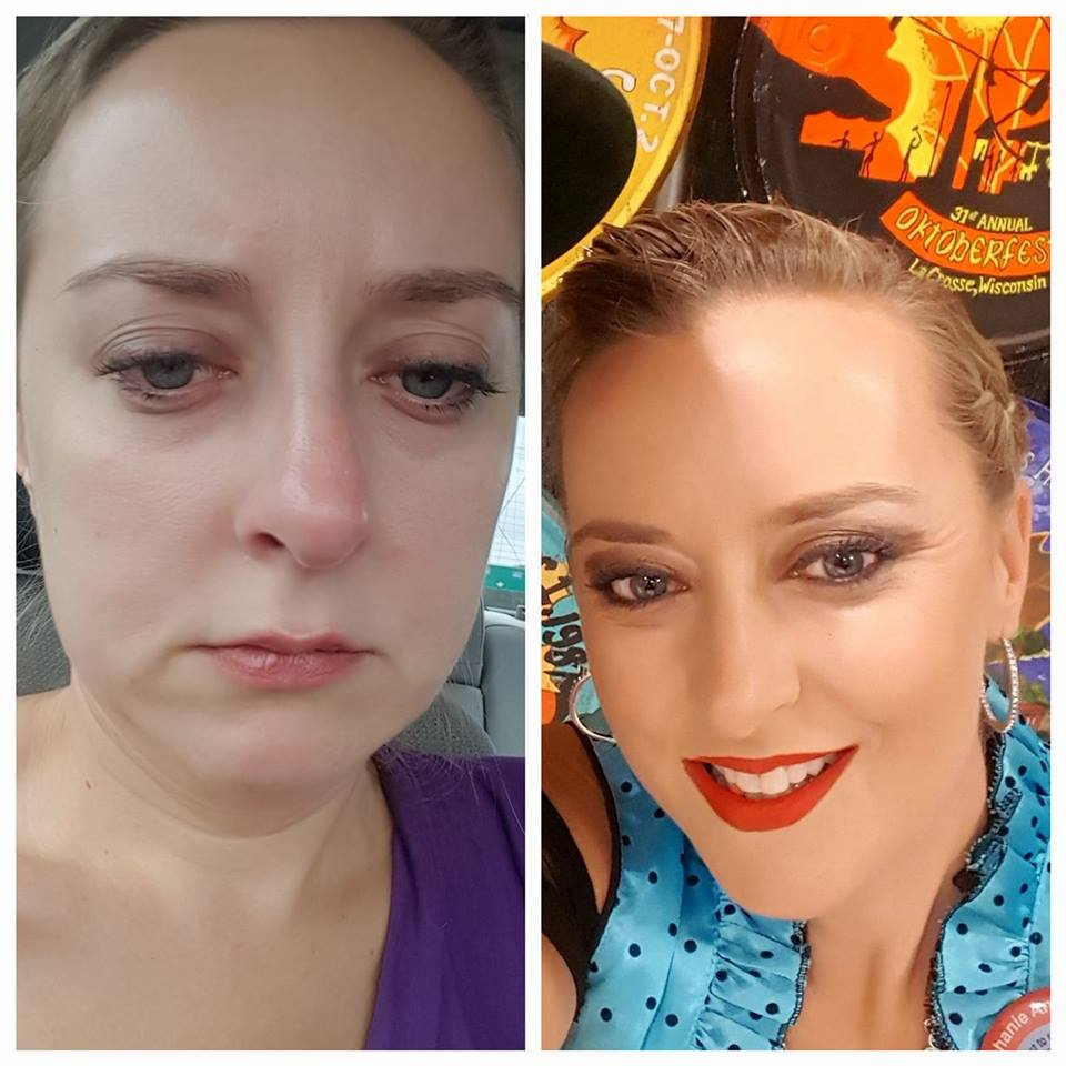 side by side photos of the same woman just hours apart. on the left she is frowning and not wearing makeup, and on the right she is smiling and wearing makeup and jewelry