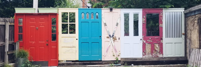 collection of doors outside