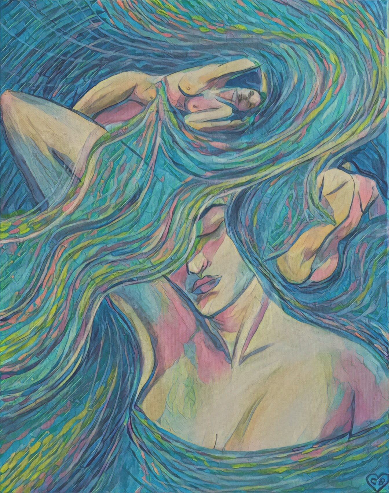 An image of pastels covering part of the woman's face.