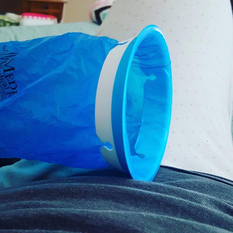 blue plastic bag for vomiting