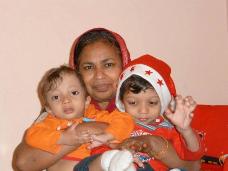 the author's mother and her two grandchildren