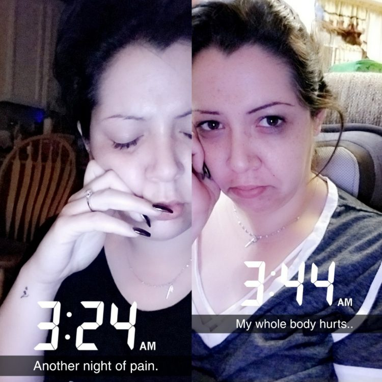 two photos of woman looking upset with time stamps 3:24 and 3:44