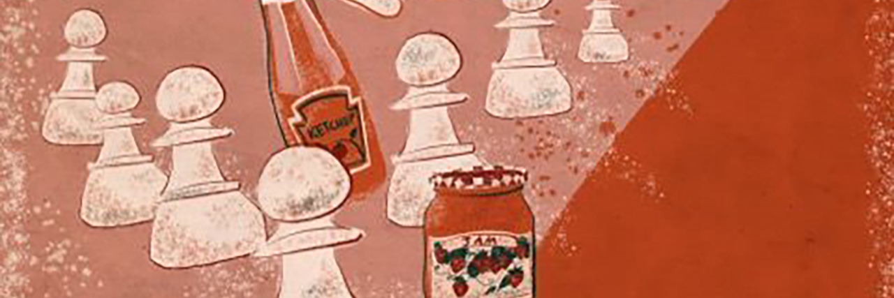 Bottles of ketchup and jam amidst chess pieces. Illustration by Kaitlyn Liang Kraybill-Voth.
