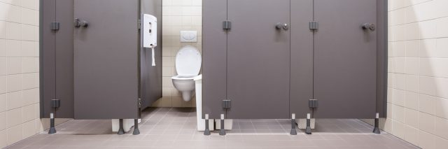stalls in a public restroom