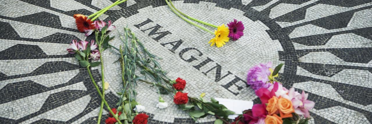 Strawberry Fields Memorial to John Lennon in Central Park, New York City, NY, USA