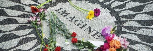 Strawberry Fields Memorial to John Lennon in Central Park, New York City, NY, USA