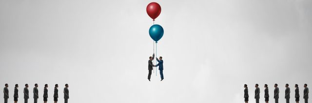 An image of a gap, but two people holding onto balloons and floating together in the middle of the gap.