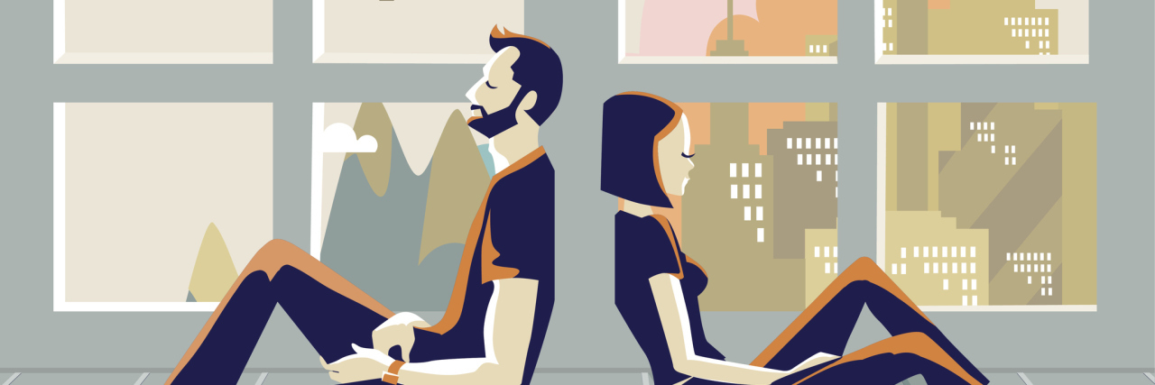 Illustration of man and woman, backs to each other, sad, they are sitting on the floor