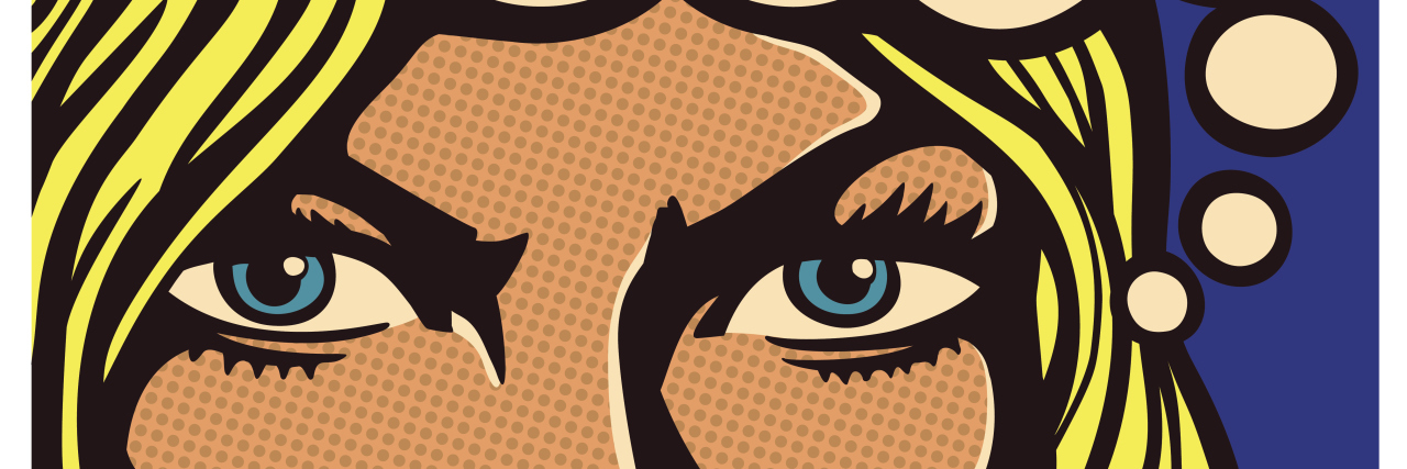 Pop art comics panel determined woman with resolute eyes vector illustration