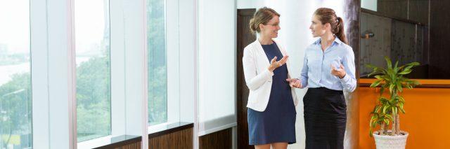 two businesswomen talking in an office