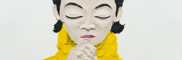 clay illustration: girl thinking, hand supporting chin