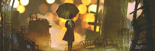 rainy night scene of woman holding umbrella standing alone in abandoned city, digital art style, illustration painting