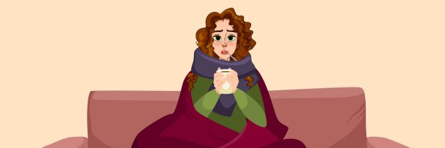 illustration of woman sitting on the couch wrapped in a blanket and drinking tea