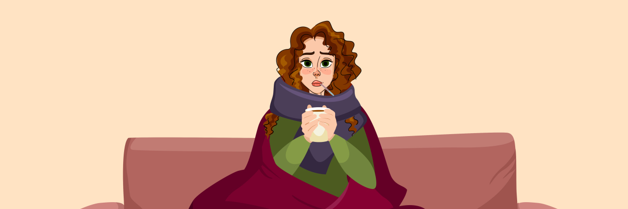 Sick girl with thermometer holding cup of tea suffering from temperature