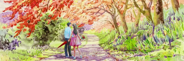 A watercolor of a couple walking down a pathway in a park.