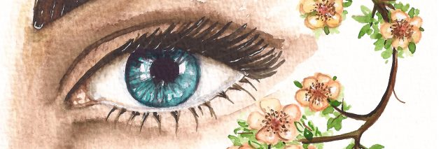 watercolor painting of a woman's eye with flowers next to it