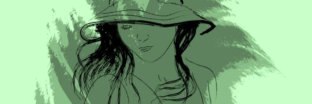 green watercolor painting of a woman wearing a hat