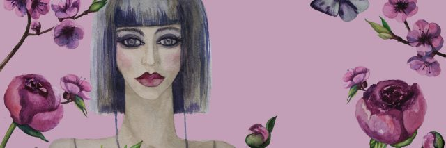 Beautiful woman and flowers isolated background. Hand painted watercolor illustration