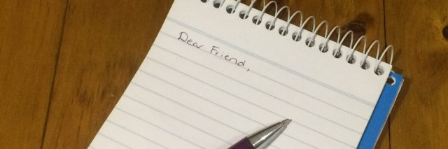 "Note pad with the words, ""dear friend"""