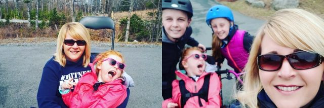 """Image of pavement with chalk reading """"gush-clan."""" And two other pictures. First girl with cerebral palsy sitting on mom's lap and second of selfie of mom with her three children in the background."""