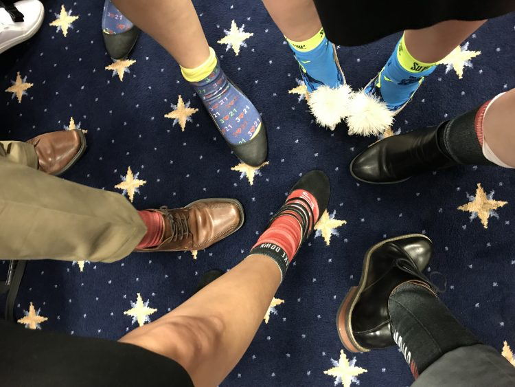 Crazy socks worn by NDSS representatives at Congress meeting