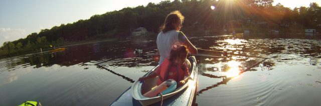 Mother and daughter on a kayak