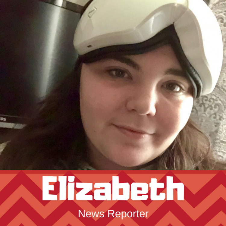 Elizabeth, The Mighty's reporter, wearing her eye massage mask on her forehead. The mask is large and white.