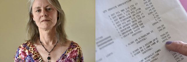 White older woman standing with her medical bill.