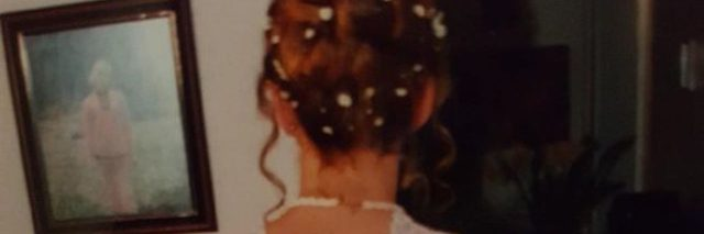 A picture of the writer in her white debutante dress in the 90s.