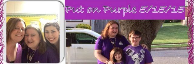 collage of photos of people wearing purple