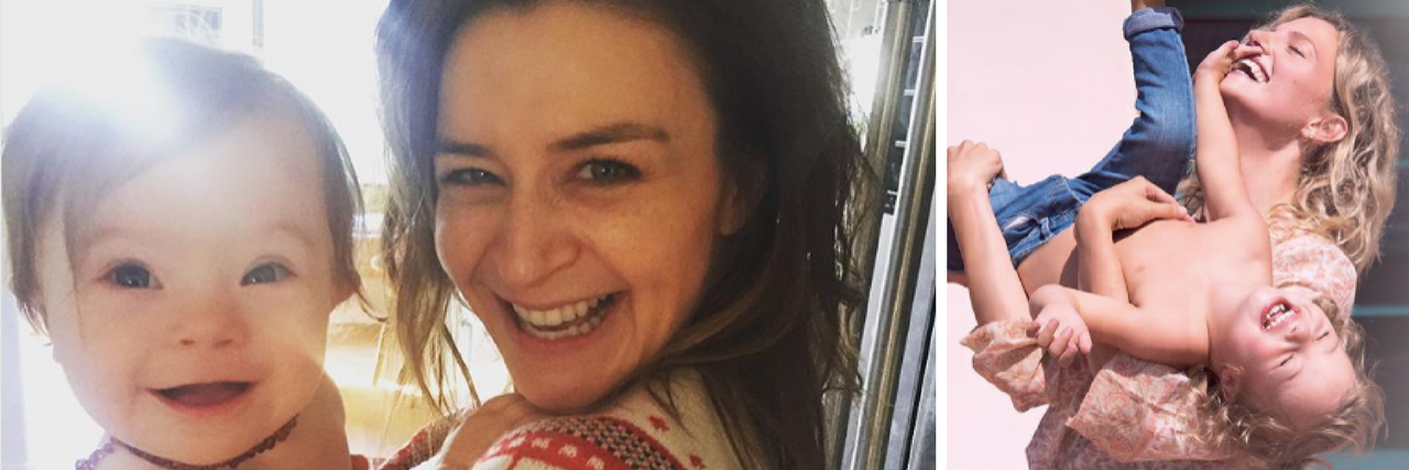 Caterina Scorsone and Pippa. Text: 6 Celebrity Moms of Kids With Down Syndrome