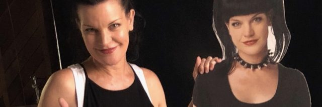 Actress Pauley Perrette next to a cutout of the character she plays on NCIS.