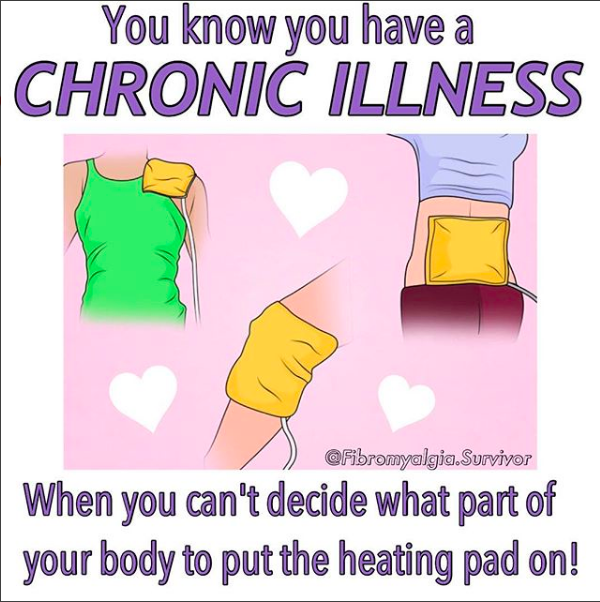you know you have a chronic illness when you can't decide what part of your body to put the heating pad on