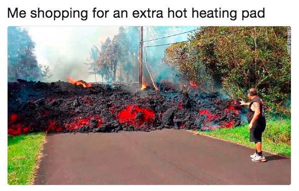 me shopping for an extra hot heating pad: (man looking at lava)