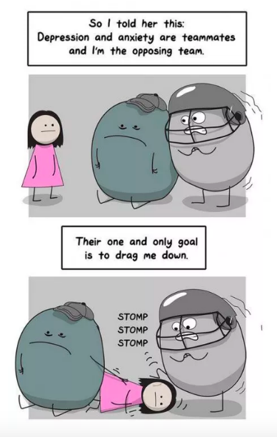 Comic of a girl talking to two blobs representing anxiety and depression
