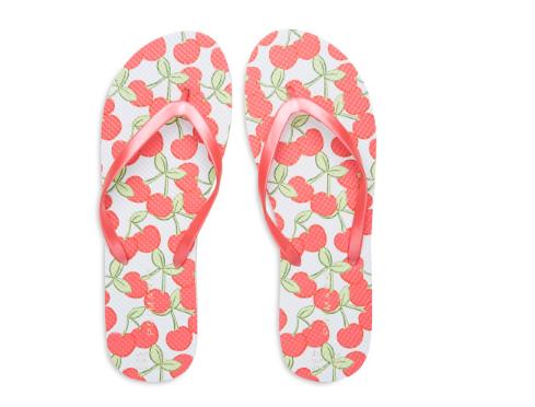 cherry print flip flops