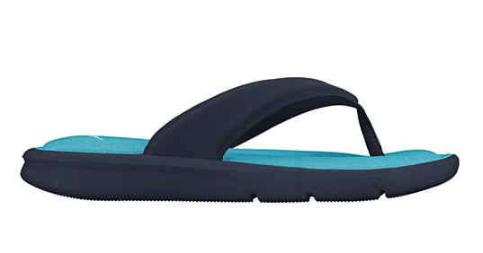 dark blue flip flop with bright blue insole