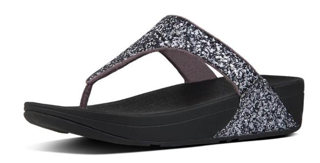 black flip flops with sparkly strap