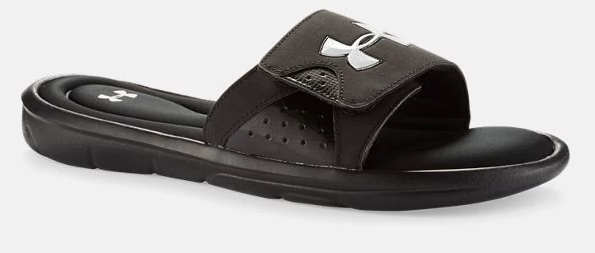 black slide sandals with white under armour logo