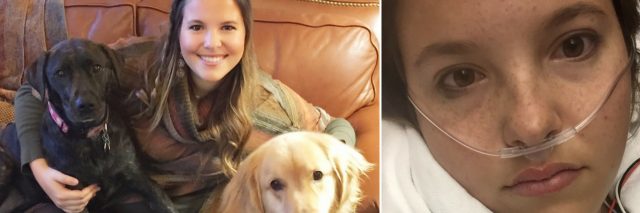 side by side photos of woman smiling with her dogs, then in the hospital with an oxygen tube under her nose